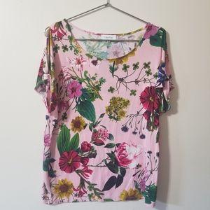 Calvin Klein - floral cold shoulder top